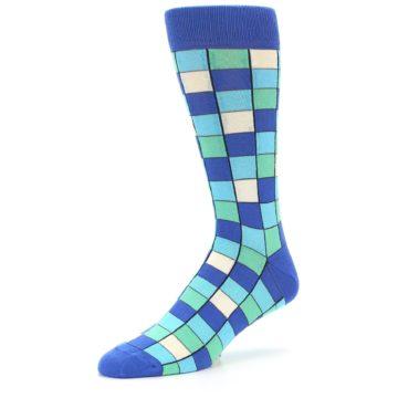 Image of Blue Teal Checkered Men's Dress Socks (side-2-09)