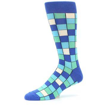 Image of Blue Teal Checkered Men's Dress Socks (side-2-10)