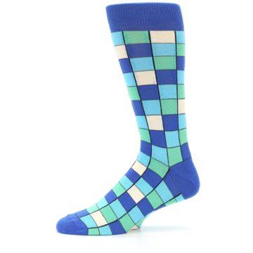 Image of Blue Teal Checkered Men's Dress Socks (side-2-11)