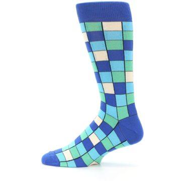 Image of Blue Teal Checkered Men's Dress Socks (side-2-12)