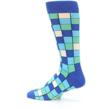 Image of Blue Teal Checkered Men's Dress Socks (side-2-13)