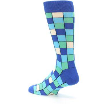 Image of Blue Teal Checkered Men's Dress Socks (side-2-back-14)
