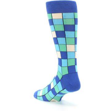 Image of Blue Teal Checkered Men's Dress Socks (side-2-back-15)