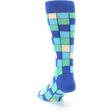 Image of Blue Teal Checkered Men's Dress Socks (side-2-back-16)