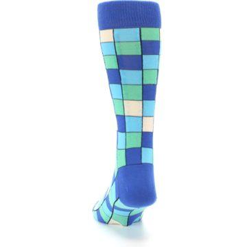 Image of Blue Teal Checkered Men's Dress Socks (back-17)
