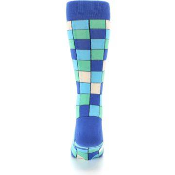Image of Blue Teal Checkered Men's Dress Socks (back-18)