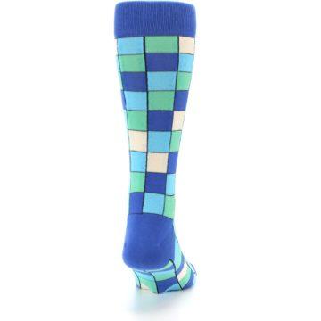 Image of Blue Teal Checkered Men's Dress Socks (back-19)