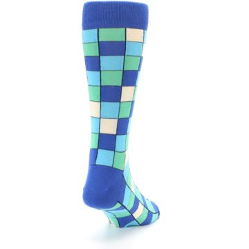 Image of Blue Teal Checkered Men's Dress Socks (side-1-back-20)