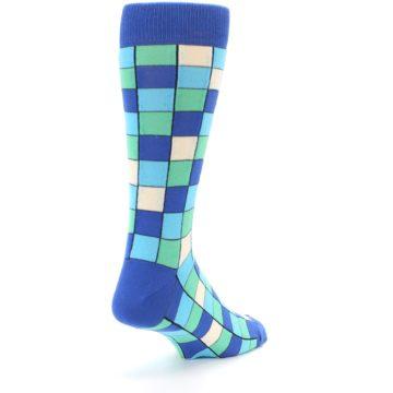 Image of Blue Teal Checkered Men's Dress Socks (side-1-back-21)