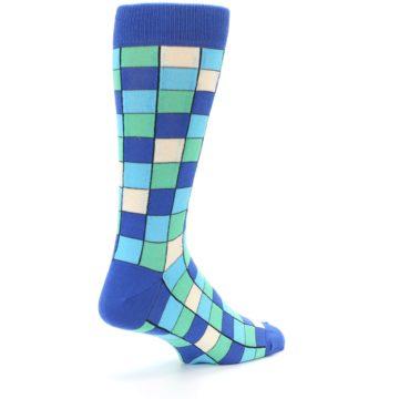 Image of Blue Teal Checkered Men's Dress Socks (side-1-back-22)
