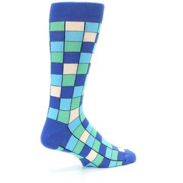 Image of Blue Teal Checkered Men's Dress Socks (side-1-23)