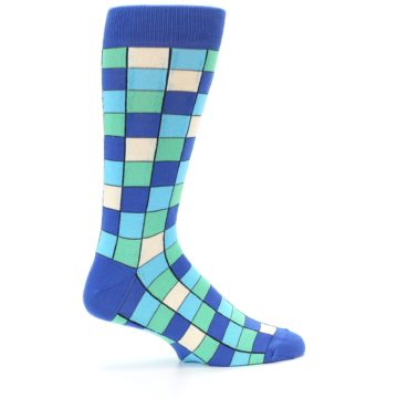 Image of Blue Teal Checkered Men's Dress Socks (side-1-24)