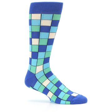 Image of Blue Teal Checkered Men's Dress Socks (side-1-25)