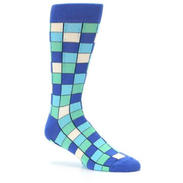 Image of Blue Teal Checkered Men's Dress Socks (side-1-26)