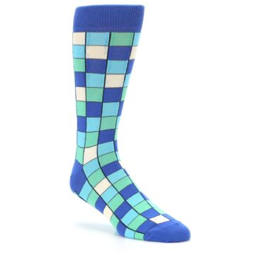 Image of Blue Teal Checkered Men's Dress Socks (side-1-27)