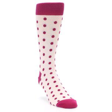 Image of Petal Pink Fuchsia Polka Dots Men's Dress Socks (side-1-front-02)