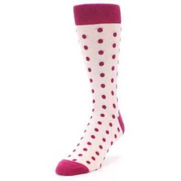Image of Petal Pink Fuchsia Polka Dots Men's Dress Socks (side-2-front-07)