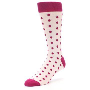 Image of Petal Pink Fuchsia Polka Dots Men's Dress Socks (side-2-front-08)