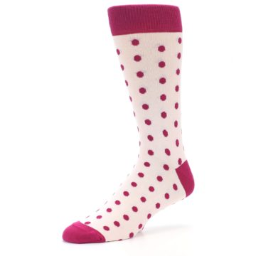 Image of Petal Pink Fuchsia Polka Dots Men's Dress Socks (side-2-09)