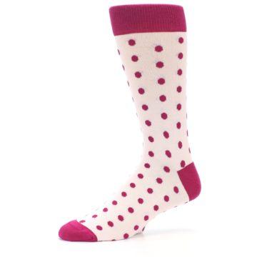 Image of Petal Pink Fuchsia Polka Dots Men's Dress Socks (side-2-10)