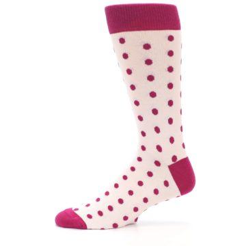 Image of Petal Pink Fuchsia Polka Dots Men's Dress Socks (side-2-11)