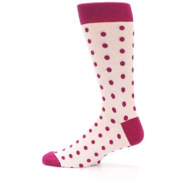 Image of Petal Pink Fuchsia Polka Dots Men's Dress Socks (side-2-12)