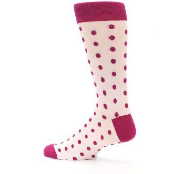 Image of Petal Pink Fuchsia Polka Dots Men's Dress Socks (side-2-13)
