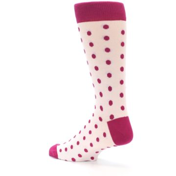 Image of Petal Pink Fuchsia Polka Dots Men's Dress Socks (side-2-back-14)