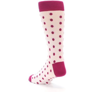 Image of Petal Pink Fuchsia Polka Dots Men's Dress Socks (side-2-back-15)
