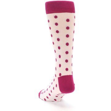 Image of Petal Pink Fuchsia Polka Dots Men's Dress Socks (side-2-back-16)