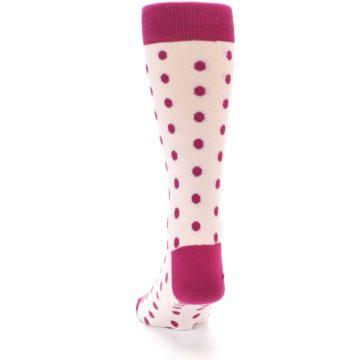 Image of Petal Pink Fuchsia Polka Dots Men's Dress Socks (back-17)