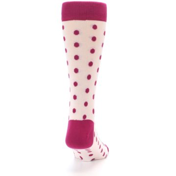 Image of Petal Pink Fuchsia Polka Dots Men's Dress Socks (back-19)