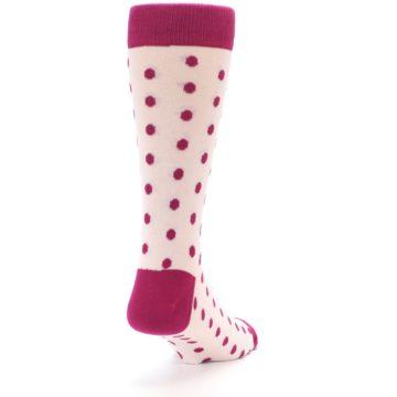 Image of Petal Pink Fuchsia Polka Dots Men's Dress Socks (side-1-back-20)