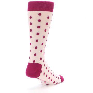 Image of Petal Pink Fuchsia Polka Dots Men's Dress Socks (side-1-back-21)