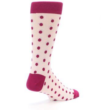 Image of Petal Pink Fuchsia Polka Dots Men's Dress Socks (side-1-back-22)