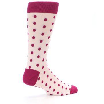 Image of Petal Pink Fuchsia Polka Dots Men's Dress Socks (side-1-23)