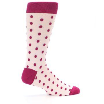 Image of Petal Pink Fuchsia Polka Dots Men's Dress Socks (side-1-24)