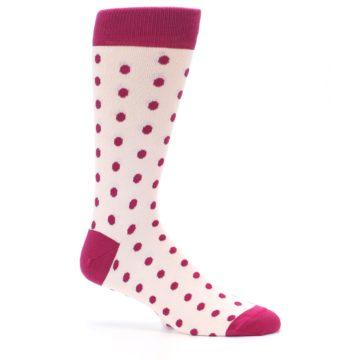 Image of Petal Pink Fuchsia Polka Dots Men's Dress Socks (side-1-25)