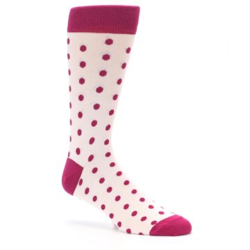 Image of Petal Pink Fuchsia Polka Dots Men's Dress Socks (side-1-26)