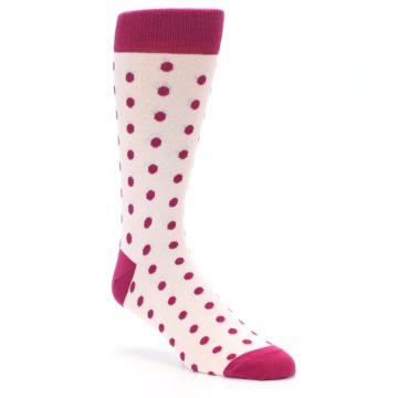 Image of Petal Pink Fuchsia Polka Dots Men's Dress Socks (side-1-27)
