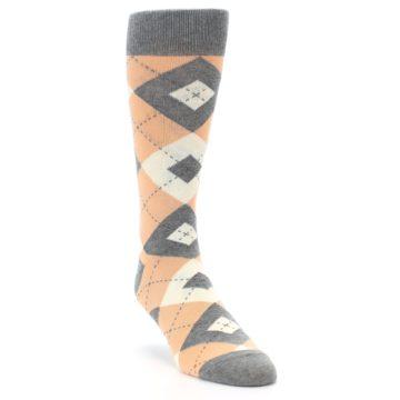Image of Peach Gray Argyle Wedding Groomsmen Men's Dress Socks (side-1-front-02)