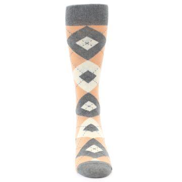Image of Peach Gray Argyle Wedding Groomsmen Men's Dress Socks (front-04)