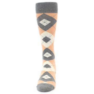 Image of Peach Gray Argyle Wedding Groomsmen Men's Dress Socks (front-05)