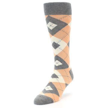 Image of Peach Gray Argyle Wedding Groomsmen Men's Dress Socks (side-2-front-07)