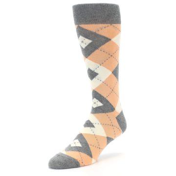 Image of Peach Gray Argyle Wedding Groomsmen Men's Dress Socks (side-2-front-08)
