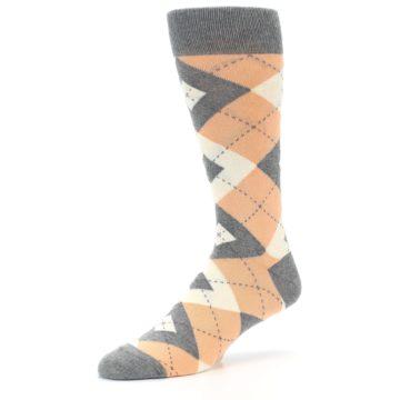 Image of Peach Gray Argyle Wedding Groomsmen Men's Dress Socks (side-2-09)