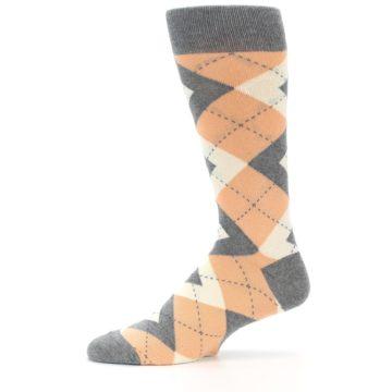 Image of Peach Gray Argyle Wedding Groomsmen Men's Dress Socks (side-2-11)