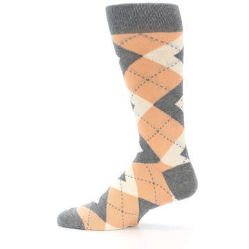 Image of Peach Gray Argyle Wedding Groomsmen Men's Dress Socks (side-2-12)