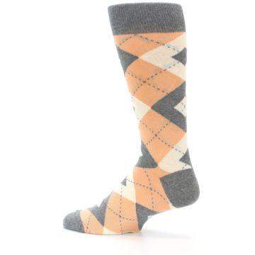 Image of Peach Gray Argyle Wedding Groomsmen Men's Dress Socks (side-2-13)