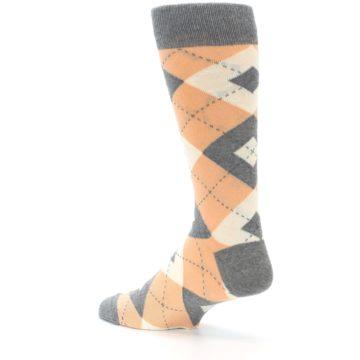 Image of Peach Gray Argyle Wedding Groomsmen Men's Dress Socks (side-2-back-14)